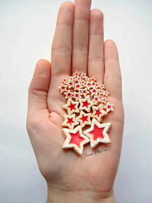 Plate of Miniature Star Jam Filled Biscuits 1:12 Scale - SweetsOfMyOwn