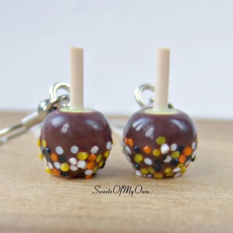 Chocolate Apples with Halloween Confetti - Dangle Earrings - SweetsOfMyOwn