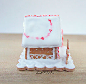 Miniature Red, White and Pink Gingerbread House - 1:12 Scale - SweetsOfMyOwn