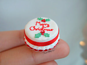 Miniature Merry Christmas Cake 1:12 Scale - SweetsOfMyOwn