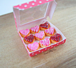 Miniature Box of Heart Doughnuts with Icing Drizzle - Doll House 1:12 Scale - SweetsOfMyOwn
