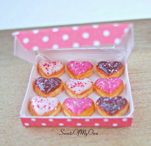 Miniature Box of Heart Doughnuts Crushed Sprinkles - Doll House 1:12 Scale - SweetsOfMyOwn