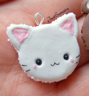 White Kitty Cat Kawaii Macaron - Necklace/Charm/Keychain - MTO