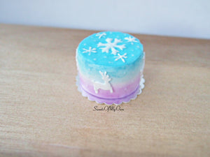 Miniature Pastel Winter Reindeer Cake 1:12 Scale - SweetsOfMyOwn