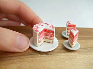 Valentines Pink Ombre Cake Miniature - Doll House 1:12 Scale