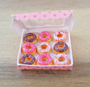 Miniature Box of Ring Doughnuts with Crushed Sprinkles - Doll House 1:12 Scale - SweetsOfMyOwn