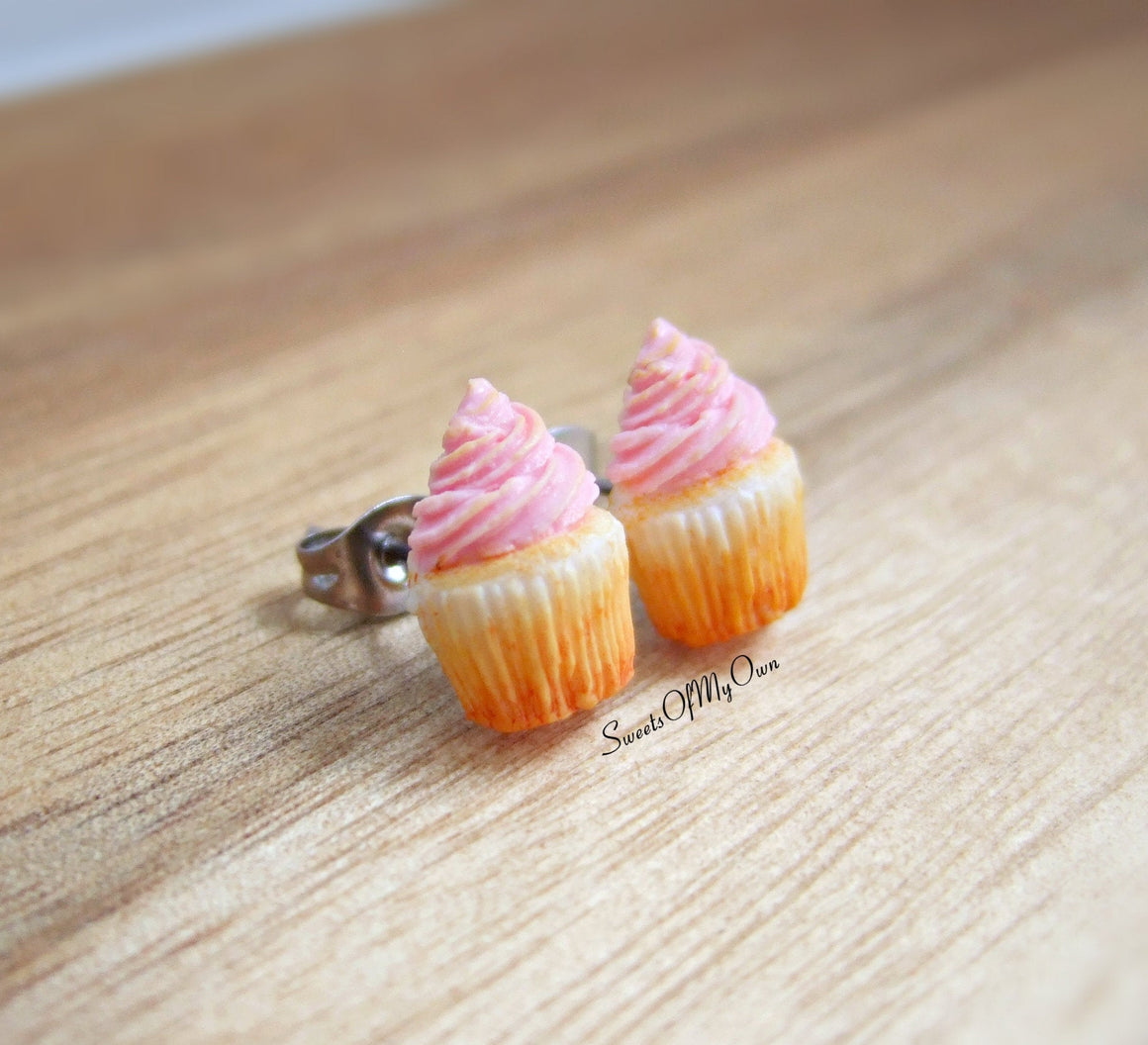 Pink Cupcakes - Stud Earrings