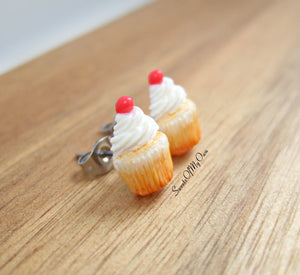 White Cupcakes with a Cherry - Stud Earrings
