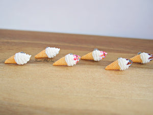 Vanilla Swirly Ice Cream Cones - Stud Earrings