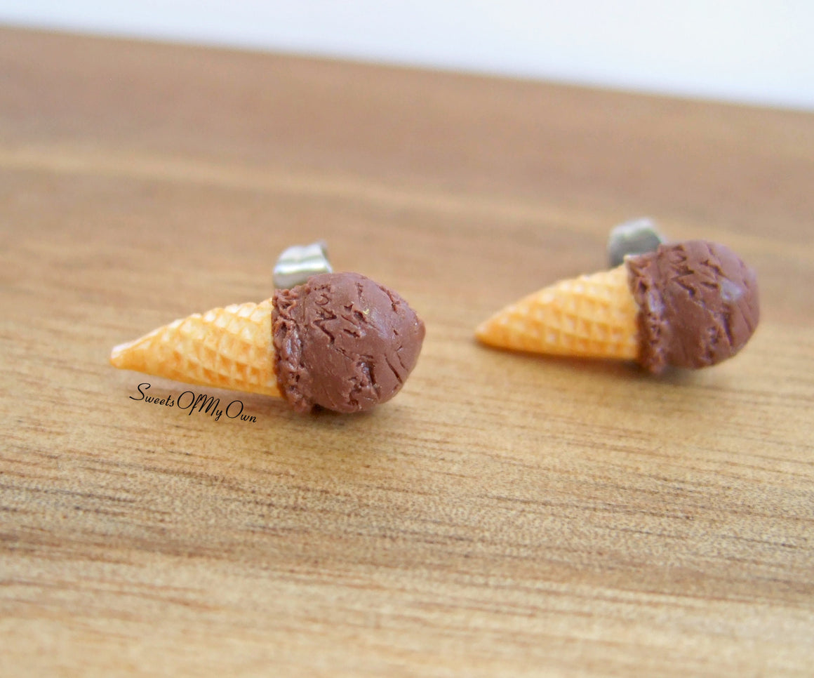 Chocolate Scoop Ice Cream Cones - Stud Earrings