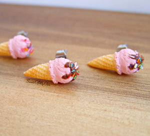 Strawberry Scoop Ice Cream Cones - Stud Earrings