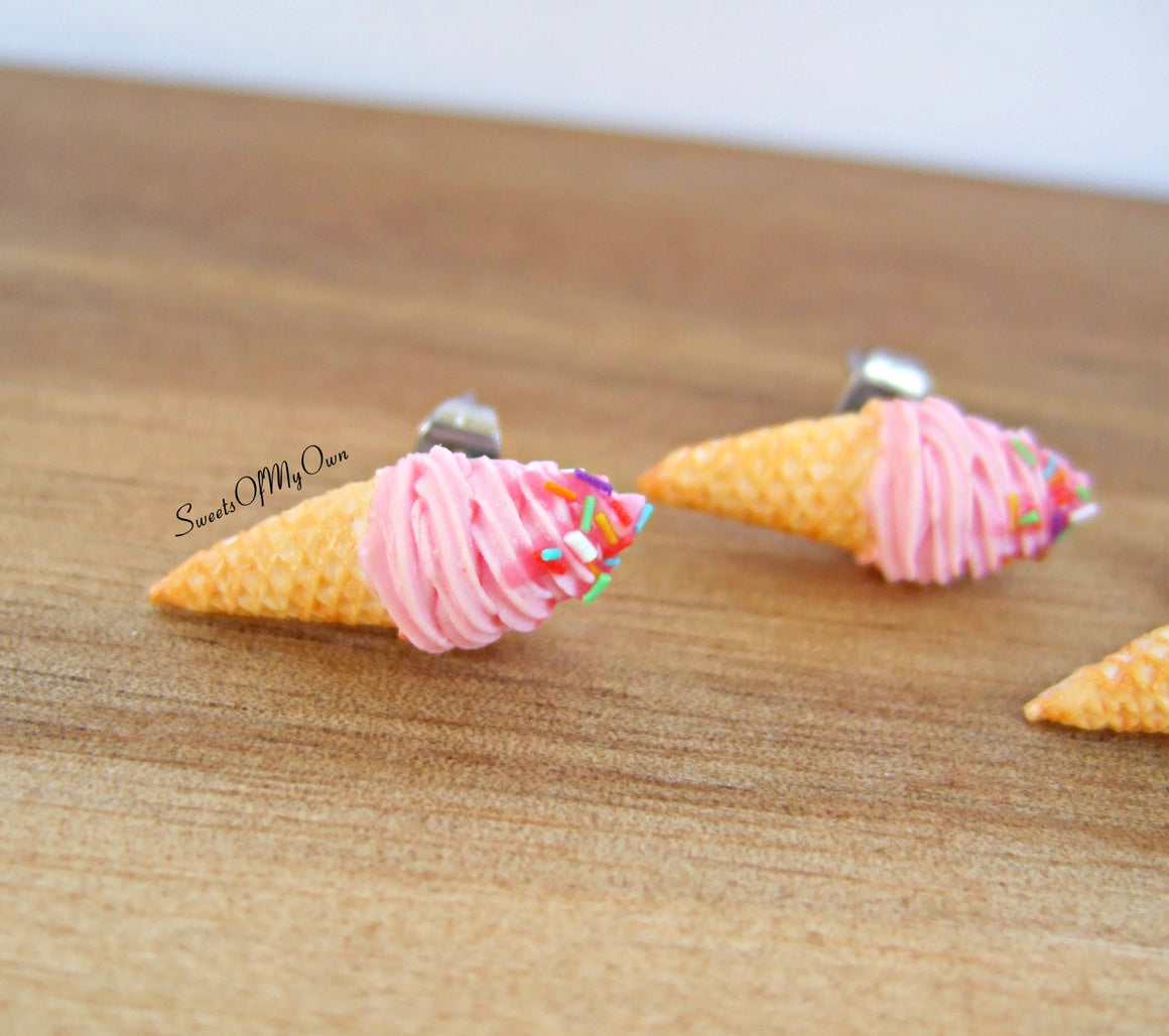 Strawberry Swirly Ice Cream Cones - Stud Earrings