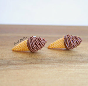 Chocolate Swirly Ice Cream Cones - Stud Earrings