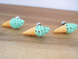 Mint Swirly Ice Cream Cones - Stud Earrings