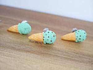 Mint Scoop Ice Cream Cones - Stud Earrings