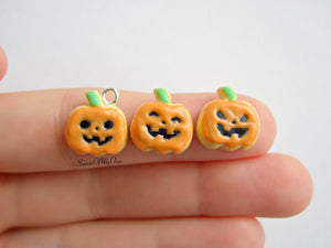 Jack O'Lantern Orange Pumpkin Biscuit - Necklace/Charm
