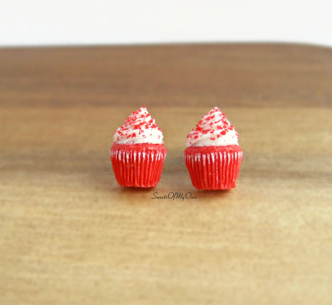 Red Velvet Cupcakes - Stud Earrings