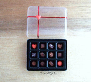 Miniature Box of Chocolates Red Theme - Doll House 1:12 Scale