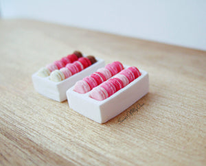 Miniature Macarons Box of 12 Pink Ombre - Doll House 1:12 Scale