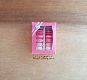 Miniature Macarons Box of 12 Mixed Colours - Doll House 1:12 Scale