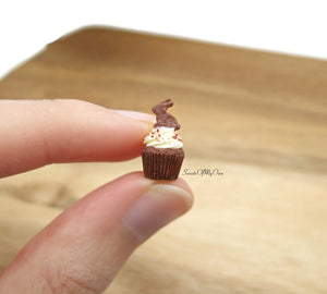 Miniature Chocolate Bunny Biscuit Cupcake - Doll House 1:12 Scale