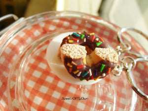Chocolate Donut with Rainbow Sprinkles Charms - Set of 2 - SweetsOfMyOwn