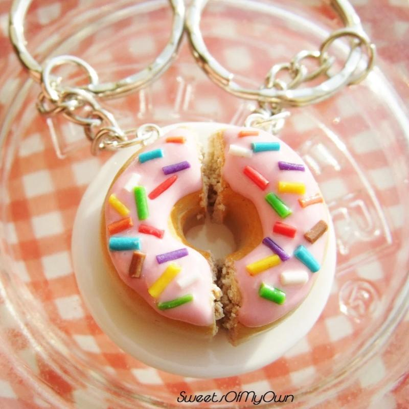 Pink Donut with Rainbow Sprinkles x2 Halves Charms - SweetsOfMyOwn