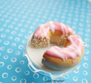 Pink Donut Halves with White Stripes BFF Set - Charm/Necklace/Keychain - MTO