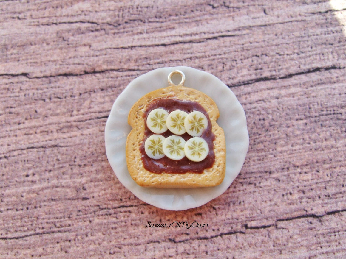 Chocolate and Sliced Banana on Toast Charm - Necklace/Charm/Keychain - MTO
