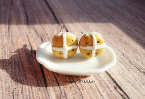 Hot Cross Bun - Stud Earrings - MTO