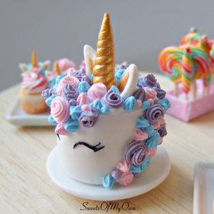 MTO - Smiling Unicorn Cake Miniature - Doll House 1:12 Scale - SweetsOfMyOwn