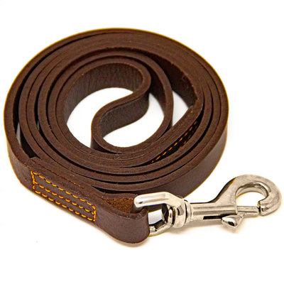 Leather Dog Training Leash - Brown
