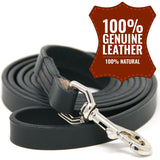 Full Grain Stitched Leather Training Leash - 6 Foot