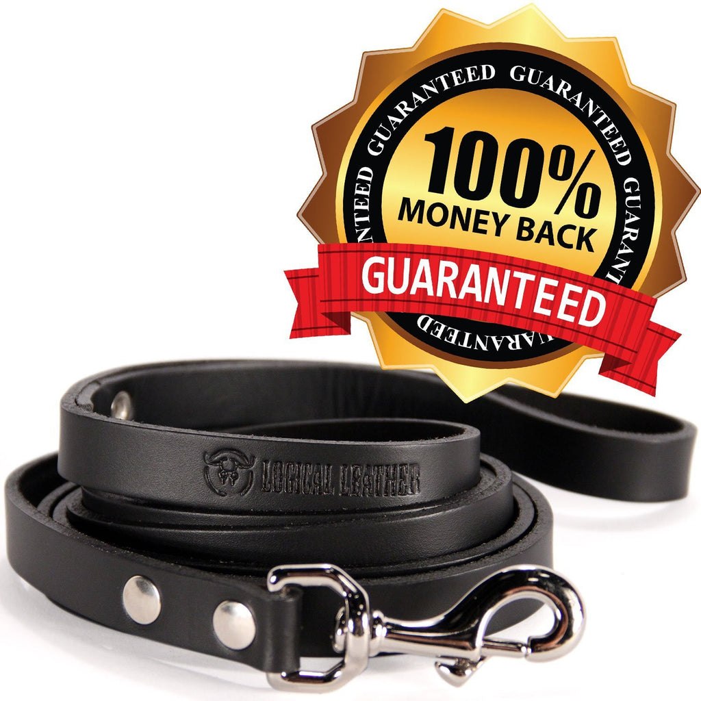 6 Foot Heavy Duty Full Grain Leather Lead - Black