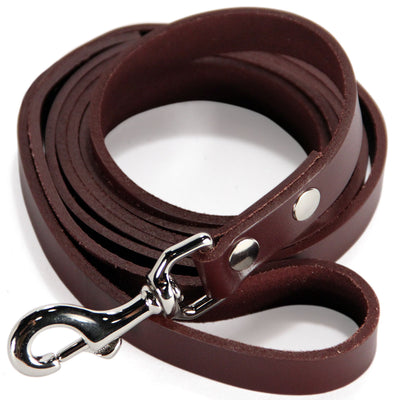 6 Foot Heavy Duty Full Grain Leather Lead