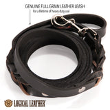 Braided Leather Dog Leash - 6 ft