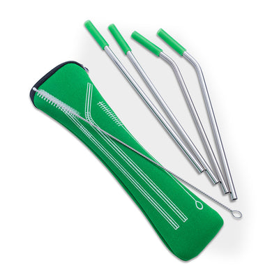 Green Stainless Steel Straws - 5 Pieces, Stainless Steel Straws, [Ziya Blue]