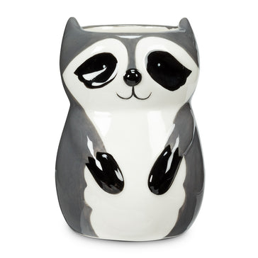 "Sitting Raccoon Planter/ Vase 4"" - Ziya Blue"