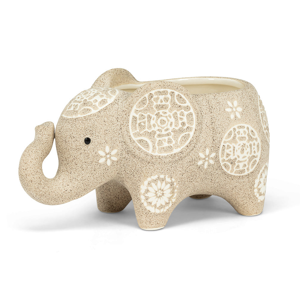 "Elephant Shaped Planter - 6.5""L, planter, [Ziya Blue]"