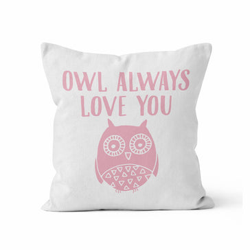 Throw Pillow Cover, Owl Always Love You, MADE TO ORDER, Pillow, [Ziya Blue]