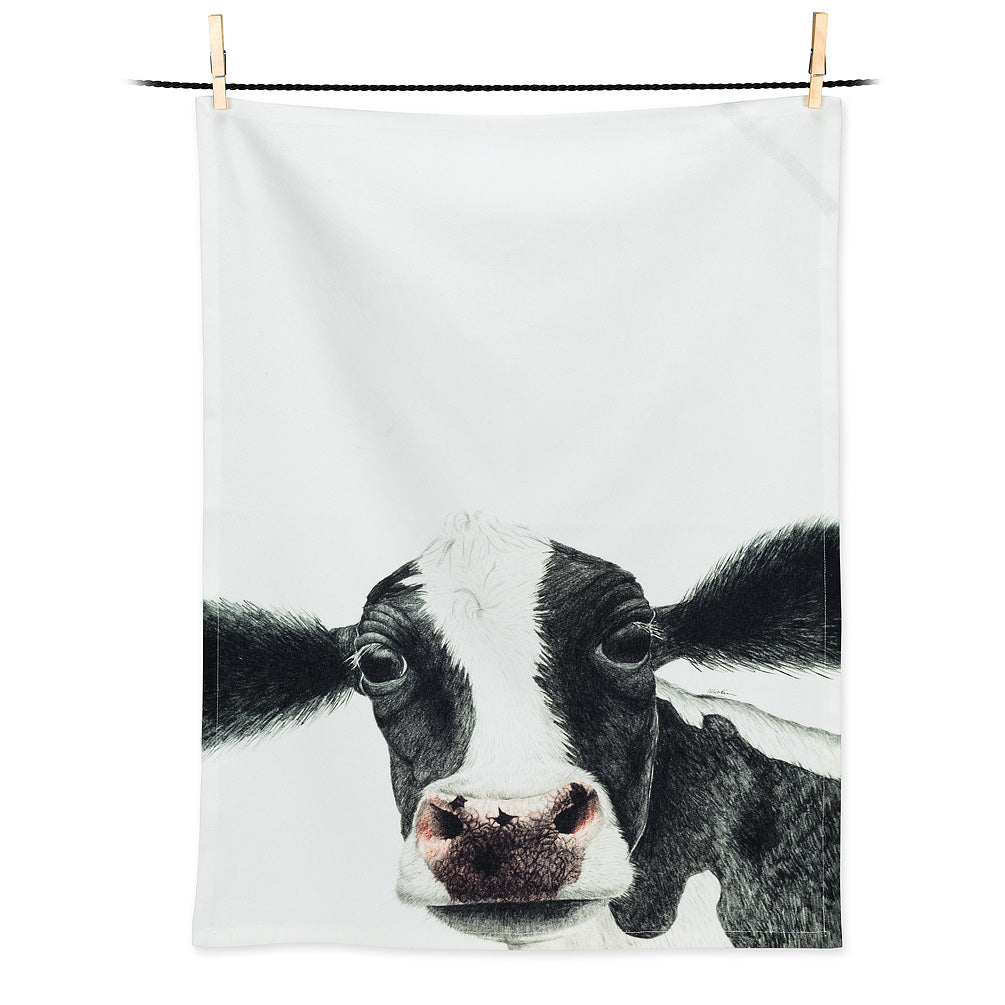 Rosa Cow Tea Towel, Tea Towels, [Ziya Blue]