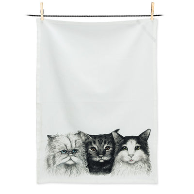 3 Cats Tea Towel, Tea Towels, [Ziya Blue]