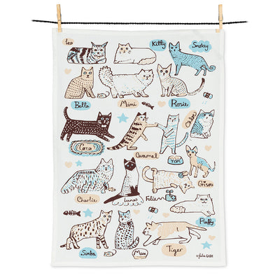 Cats with Names Tea Towel, Tea Towels, [Ziya Blue]