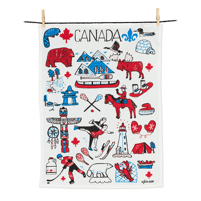 Canada Icons Tea Towel, Tea Towels, [Ziya Blue]