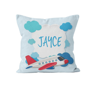 Throw Pillow Cover, Personalized, Airplane, MADE TO ORDER, Pillow, [Ziya Blue]
