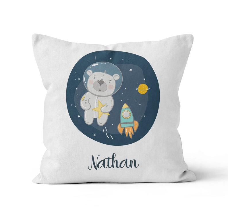 Throw Pillow Cover, Personalized, Cute Teddy Astronaut, MADE TO ORDER, Pillow, [Ziya Blue]