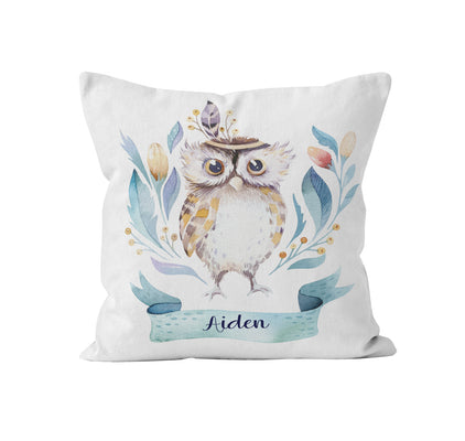 Throw Pillow Cover, Personalized, Whimsical Baby Owl, MADE TO ORDER, Pillow, [Ziya Blue]