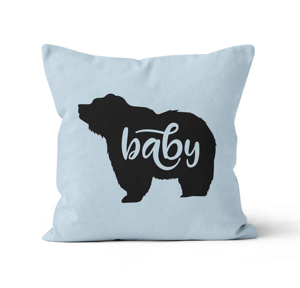 Throw Pillow Cover, Blue Baby Bear, Nursery Pillow, [Ziya Blue]