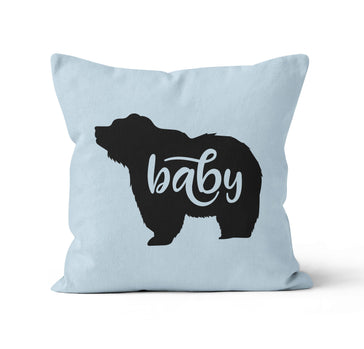 blue baby bear personalized nursery throw pillow