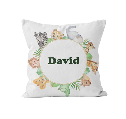 Throw Pillow Cover, Personalized, Cute Wild Animals, MADE TO ORDER, Pillow, [Ziya Blue]